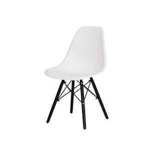 Cadeira Eiffel Eames Branca Base Madeira Preta