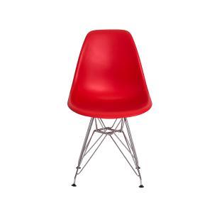 Kit 3 Cadeiras Eiffel Eames Vermelha Base Cromada
