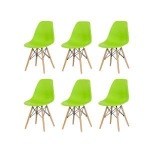 Kit 6 Cadeiras Charles Eames Eiffel Verde Base Madeira Sala Cozinha Jantar