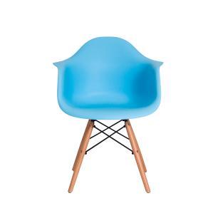 Kit 2 Cadeiras Eiffel Eames Daw C/braço Azul Claro Base Madeira