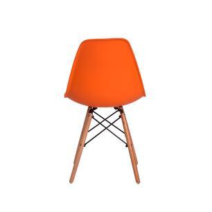 Cadeira Charles Eames Eiffel Laranja Base Madeira Sala Cozinha Jantar