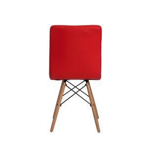 Kit 4 Cadeiras Gomos Vermelha Base Madeira