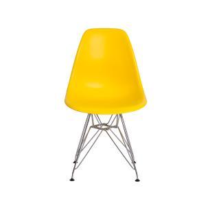 Cadeira Eiffel Eames Amarela Base Cromada Sala Cozinha Jantar