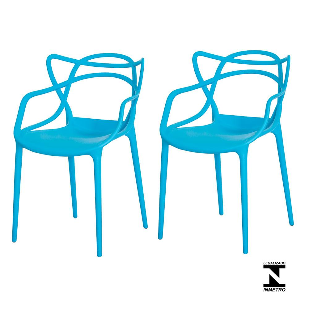 Kit 2 Cadeiras Allegra Azul Sala Cozinha Jantar