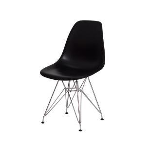 Cadeira Eiffel Eames Preta Base Cromada