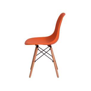 Kit 2 Cadeiras Eiffel Eames Dsw Laranja Base Madeira