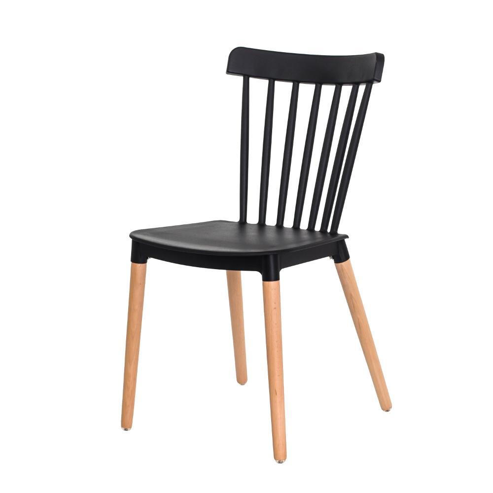 Cadeira Ellen Polipropileno Preta Base Madeira