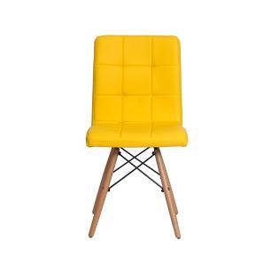 Kit 4 Cadeiras Gomos Amarela Base Madeira