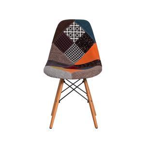 Cadeira Eiffel Eames Patchwork Base Madeira