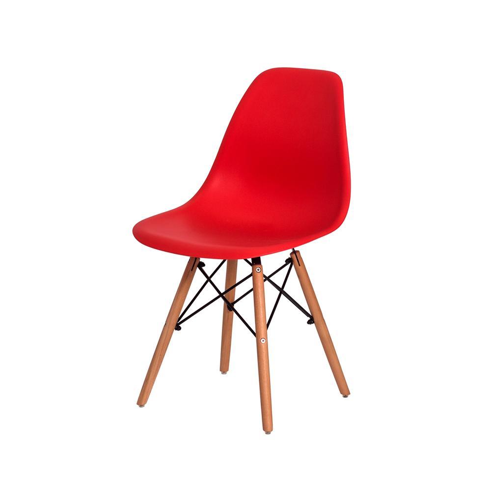 Kit 2 Cadeiras Charles Eames Eiffel Vermelha Base Madeira Sala Cozinha Jantar
