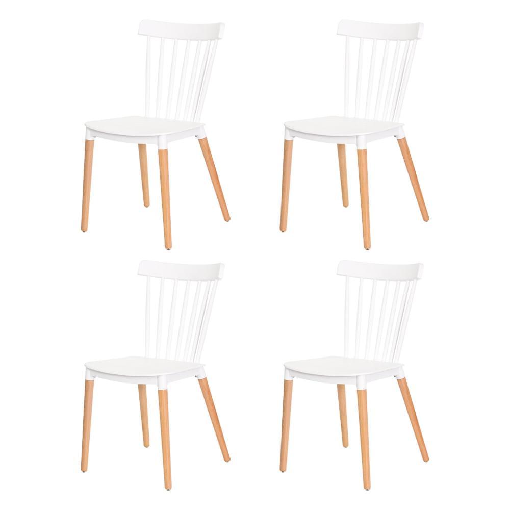 Kit 4 Cadeiras Ellen Windsor Polipropileno Branca Base Madeira Sala Cozinha Jantar