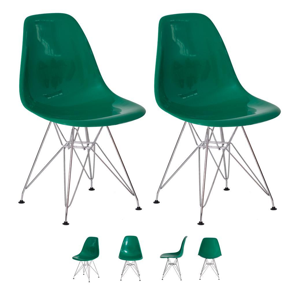 Kit 2 Cadeiras Eiffel Eames de Abs Base Cromada Verde