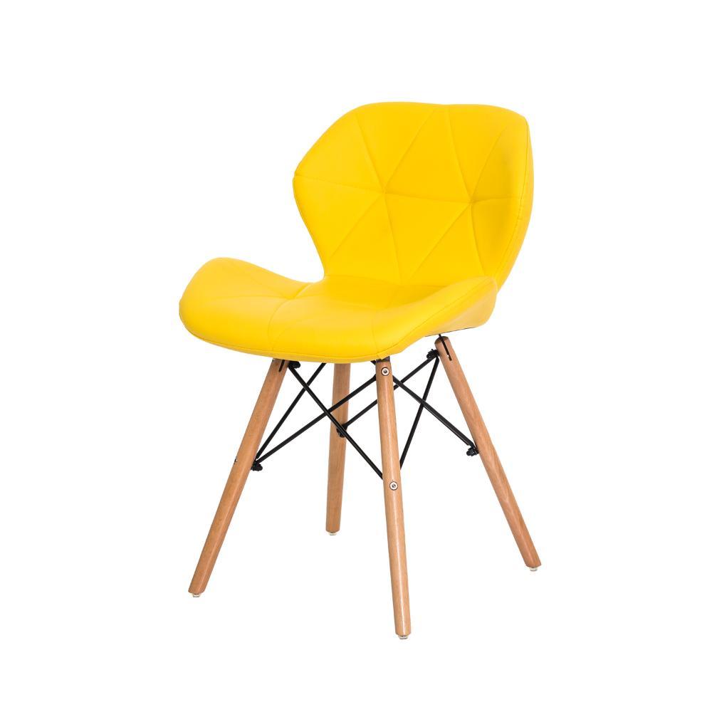 Cadeira Slim Amarela Base Madeira