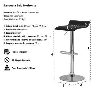 Banqueta Tóqui Belo Horizonte Vermelha Base Giratória Cromada Altura Regulável Cozinha Bar Bancada