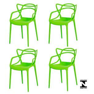 Kit 4 Cadeiras Allegra Verde Sala Cozinha Jantar