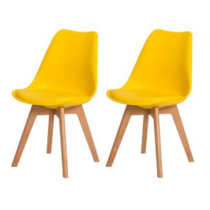 Kit 2 Cadeiras Leda Saarinen Design Amarela Sala Cozinha Jantar