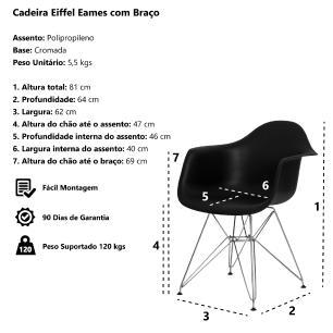 Cadeira Eiffel Eames c/ Braço Base Cromada Branca