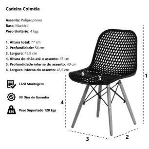 Kit 3 Cadeiras Colméia Eloisa Preta Sala Cozinha Jantar
