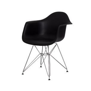 Cadeira Eiffel Eames c/ Braço Base Cromada Preta