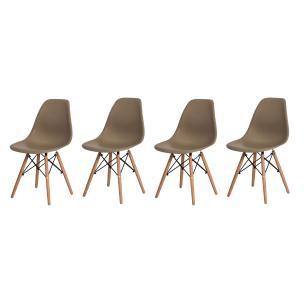 Kit 4 Cadeiras Charles Eames Eiffel Nude Base Madeira Sala Cozinha Jantar