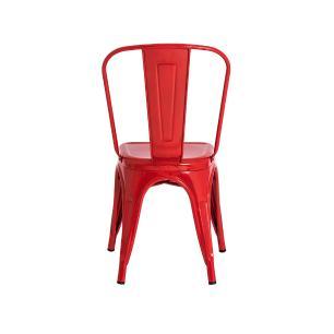 Kit 4 Cadeiras Tolix Iron Design Vermelha Aço Industrial Sala Cozinha Jantar Bar