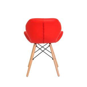 Kit 4 Cadeiras Slim Vermelha Base Madeira