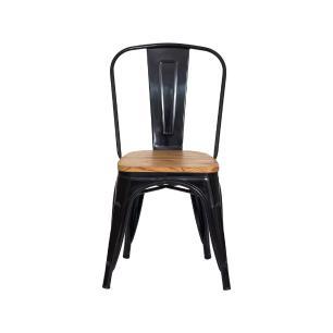 Cadeira Tolix Iron Assento Madeira Preto Brilhante Aço Industrial Sala Cozinha Jantar Bar