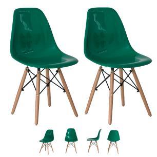 Kit 2 Cadeiras Eiffel Eames Abs Base Madeira Verde