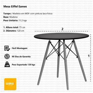 Mesa Eiffel Eames Base Madeira Branca 120cm