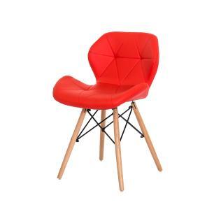 Cadeira Slim Vermelha Base Madeira