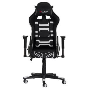 Cadeira fx Gamer Reclinável 180º Giratória Preta Com Branco Ajustável Função Relax Rodas Anti Risco
