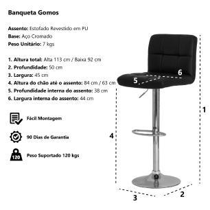 Kit 3 Banquetas Estofada Gomos Marrom Base Giratória Cromada Altura Regulável Cozinha Bar Bancada