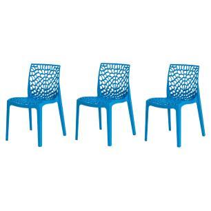 Kit 3 Cadeiras Gruvyer Azul Sala Cozinha Jantar
