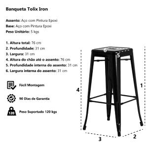 Banqueta Tolix Iron Design Industrial Branca 76 cm Aço Cozinha Bar Bistrô Bancada