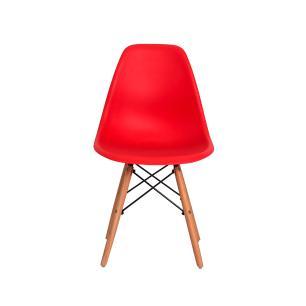 Kit 2 Cadeiras Eiffel Eames Dsw Vermelha Base Madeira