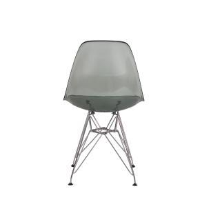 Kit 3 Cadeiras Eiffel Eames Dsr Preto Translúcido Base Cromada