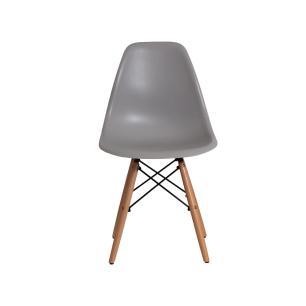 Kit 5 Cadeiras Charles Eames Eiffel Cinza Base Madeira Sala Cozinha Jantar