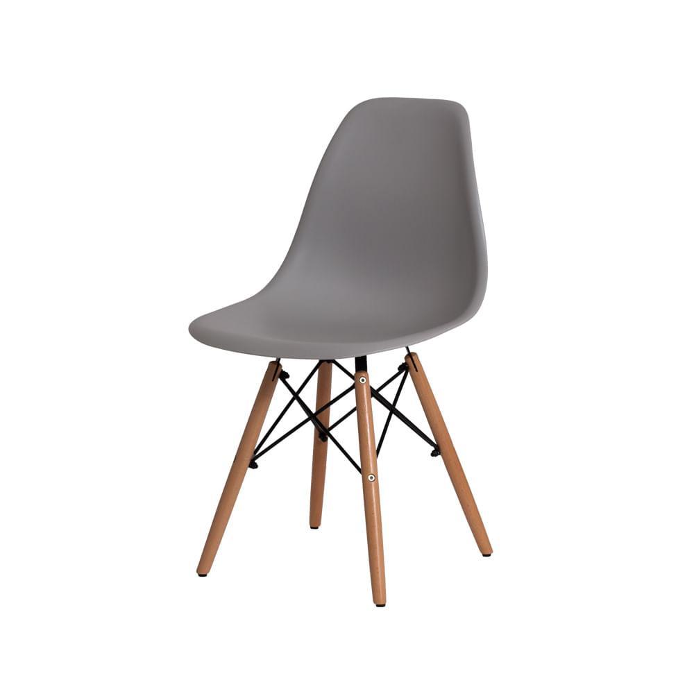 Cadeira Charles Eames Eiffel Cinza Base Madeira Sala Cozinha Jantar
