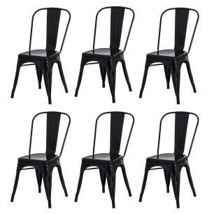 Kit 6 Cadeiras Tolix Iron Design Preta Aço Industrial Sala Cozinha Jantar Bar