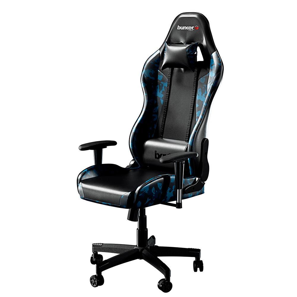 Cadeira Gamer Bunker Camuflada Azul Pro E-sports Ergonômica Reclinável