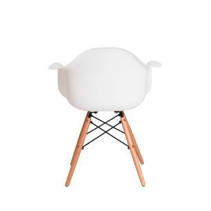 Kit 2 Cadeiras Eiffel Eames Daw C/braço Branca Base Madeira Sala Cozinha Jantar