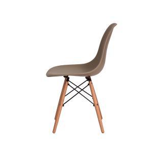 Kit 3 Cadeiras Eiffel Eames Dsw Nude Base Madeira