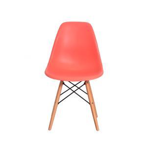 Kit 4 Cadeiras Charles Eiffel Eames Living Coral Base Madeira Sala Cozinha Jantar