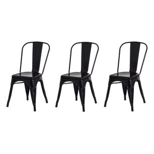 Kit 3 Cadeiras Tolix Iron Design Preta Aço Industrial Sala Cozinha Jantar Bar