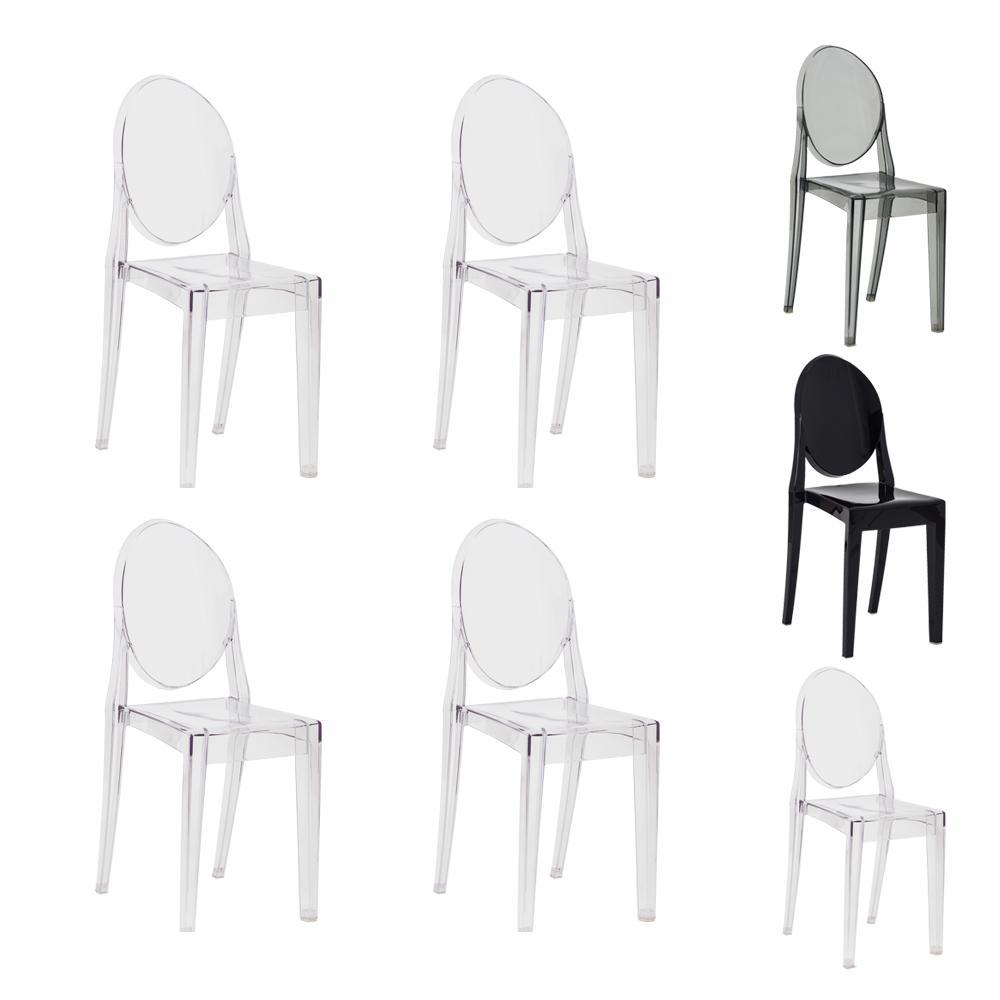 Kit 4 Cadeiras Victoria Ghost Transparente Sala Cozinha Jantar