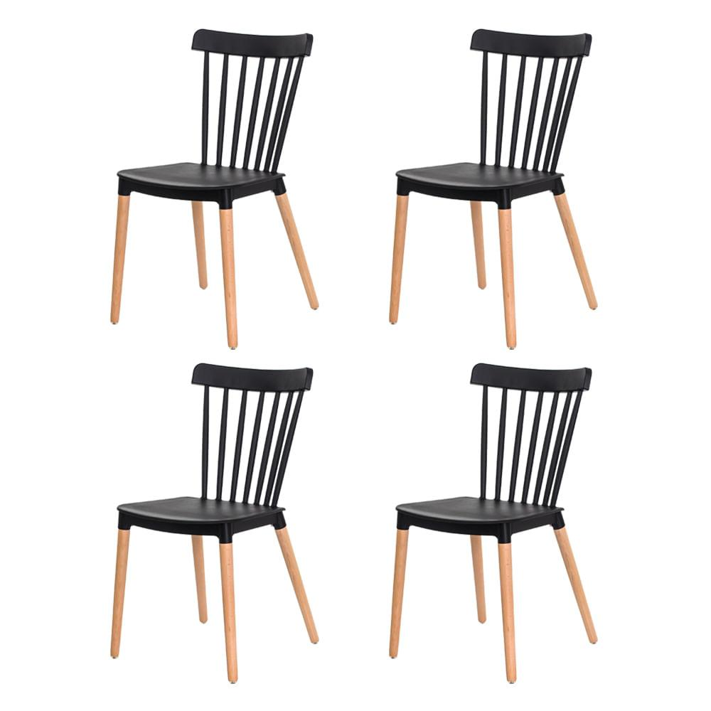 Kit 4 Cadeiras Ellen Windsor Polipropileno Preta Base Madeira Sala Cozinha Jantar