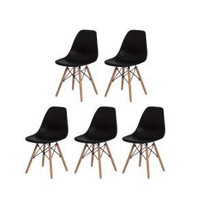 Kit 5 Cadeiras Charles Eames Eiffel Preta Base Madeira Sala Cozinha Jantar