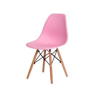 Kit 6 Cadeiras Eiffel Eames Dsw Rosa Claro Base Madeira