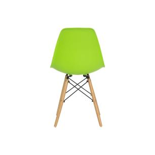 Kit 5 Cadeiras Charles Eames Eiffel Verde Base Madeira Sala Cozinha Jantar