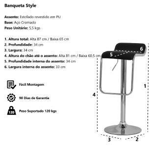 Kit 3 Banquetas Style Branca Base Giratória Cromada Altura Regulável Cozinha Bar Bancada